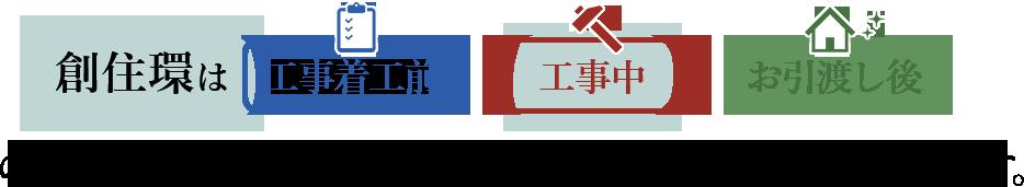 創住環は「工事着工前」「工事中」「お引渡し後」の『安心』を独自のあんしん保証でサポートいたします。
